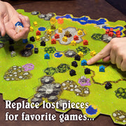 hand pointing out a meeple on a board game text reads replace lost pieces