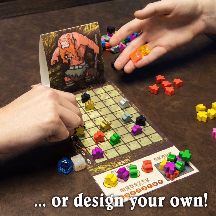 image of a hand throwing a dice in a game text reads or design your own