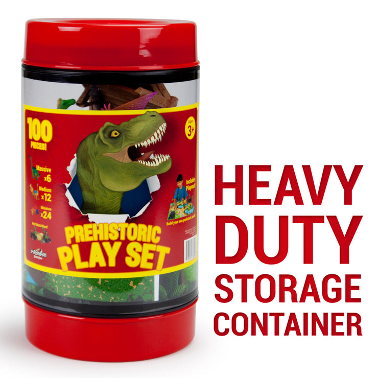 red storage container text reads heavy duty storage container