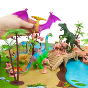 image of a hand playing with a dinosaur that has caught a caveman