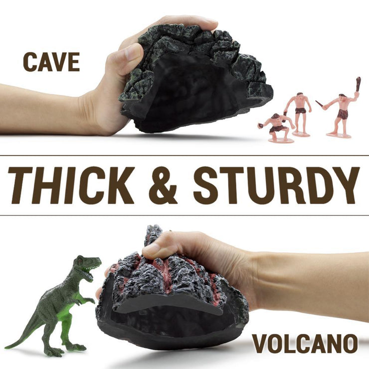 image of a cave and a volcano text reads thick and sturdy