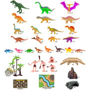 set includes dinosaurs cavemen playmat cave volcano bridges trees and more