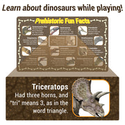 image of a prehistoric fun fact card text reads learn about dinosaurs while playing