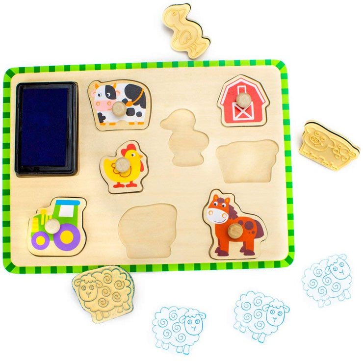 Professor Poplar Puzzle Stampers Barnyard Animals with pieces taken out