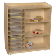 front view of Wood Designs™ Kids Play Toy Book Plywood Organizer - Translucent Trays