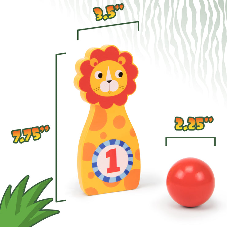 jungle bowling animal and ball displaying dimensions
