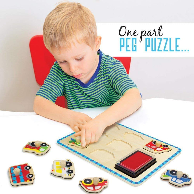 boy in green playing with Professor Poplar Puzzle Stampers