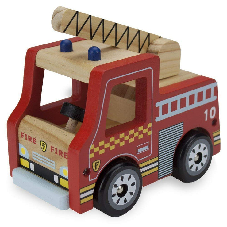front view of wooden wheels fire engine