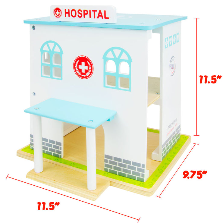 image of the Helping Hands Hospital displaying dimensions