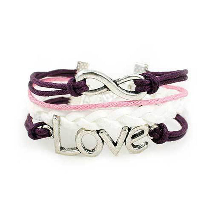 purple, pink and white infinity love bracelet