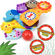 all jungle bowling animals stacked text reads traditional toys - natural wood