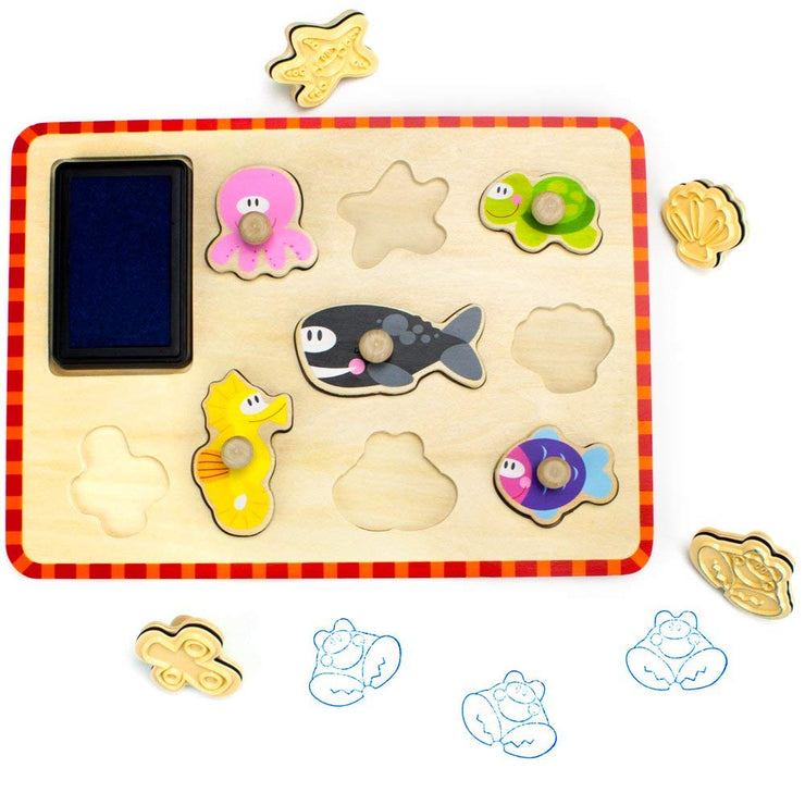 Professor Poplar Puzzle Stampers Marine Animals with pieces out