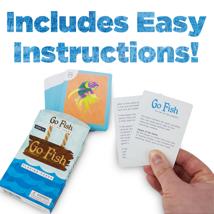 hand holding the go fish instructions - stem toys