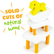 yellow rocking horse and table text reads solid cuts of natural wood