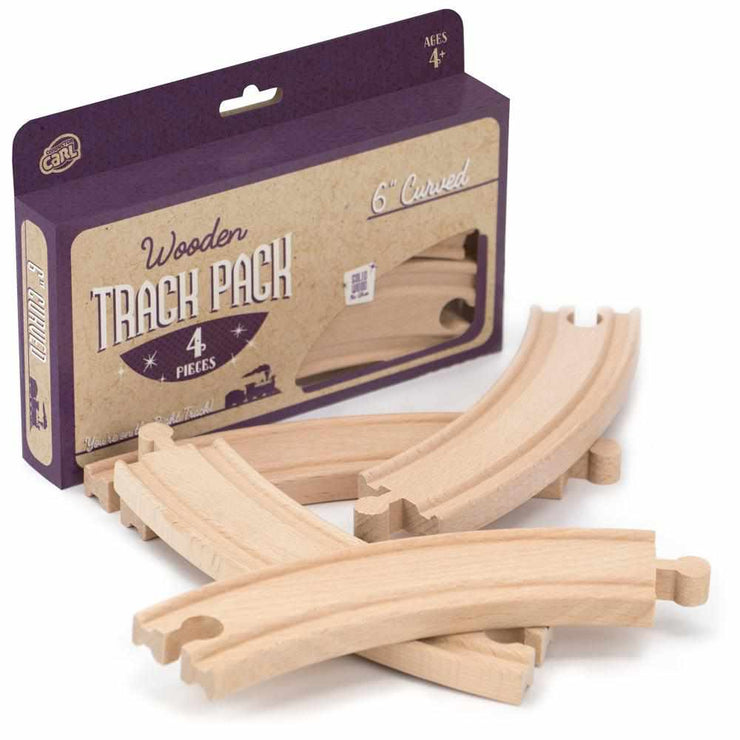 "purple box packaging reading ages four plus 6"" curved with train track pieces placed in front"