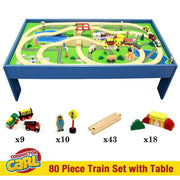 blue wooden table as seen from above displaying a built train track with trains bridges cars buildings and road quantity of pieces displayed below