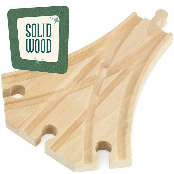 one train track piece with a sign reading solid wood