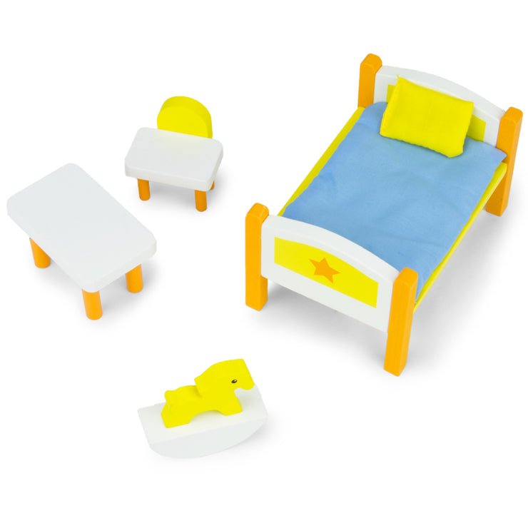 image of a yellow and white bed table chair and rocking horse