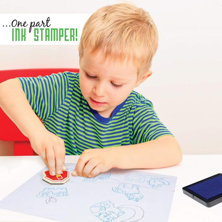 boy in green stamping a puzzle piece