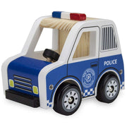 wooden police car on white backing