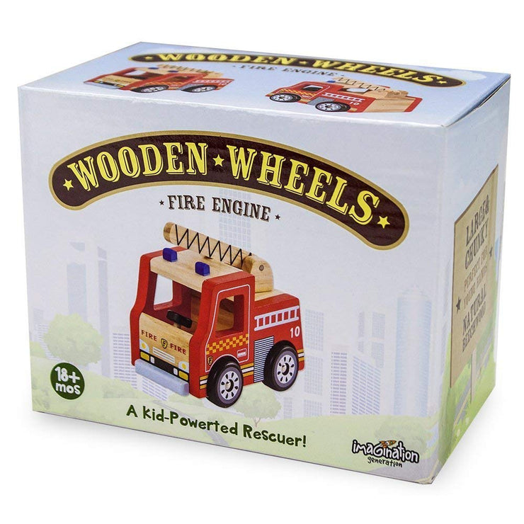 box packing of wooden wheel motor skills fire engine toy