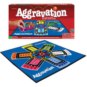 aggravation board game set up and box packaging in background