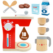 ten pieces with spoons coffee sugar milk cups and coffee maker