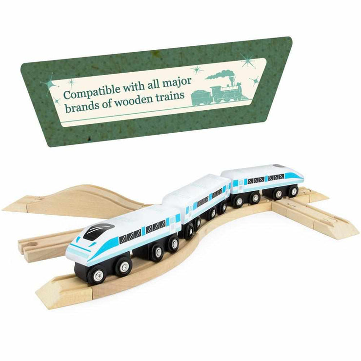 blue train on a train track with a sign reading compatible with all major brands of wooden trains