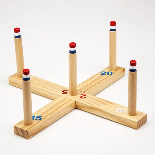 image of wooden rack for ring toss game