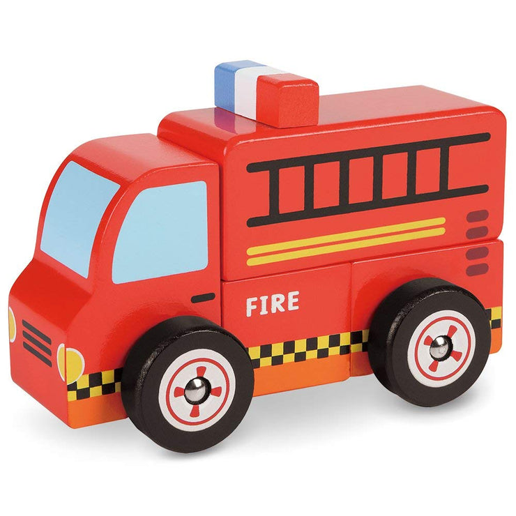 diagonal view of Wooden Wonders Put-It-Together Fire Engine