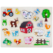 front view of the Jumbo Barnyard Helpers Peg Puzzle - stem toys