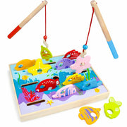 Let's Go Fishing! Game with two rods picking up a fish and a starfish