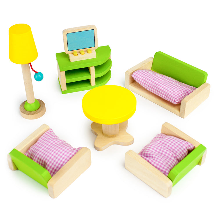 front view of the Luxurious Living Room Set - Wooden Wonders set