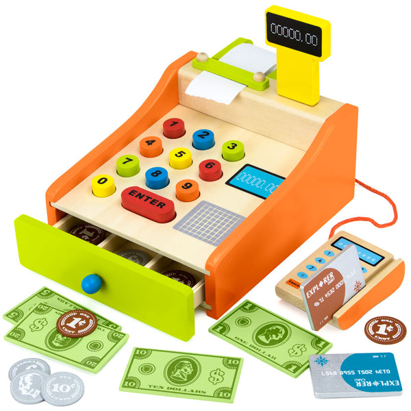 Change & Charge Wooden Cash Register