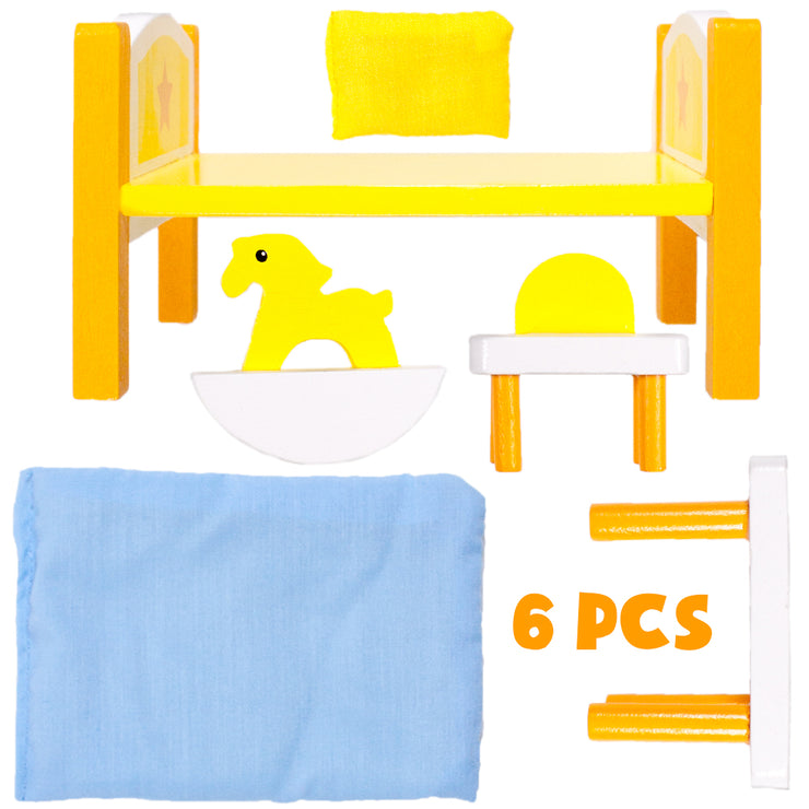 all six components of Dreamland Children's Bedroom furniture displayed