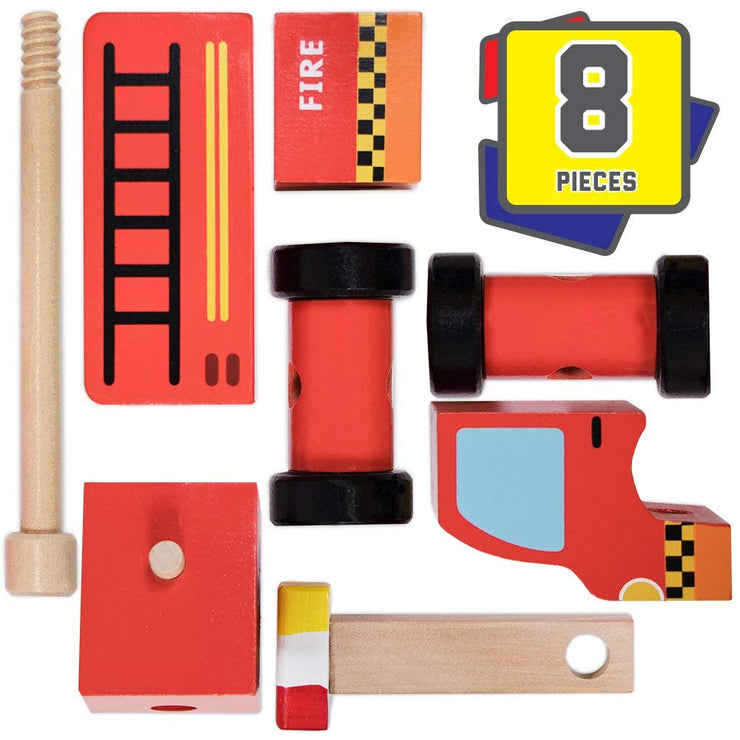 disassembled Wooden Wonders Put-It-Together Fire Engine