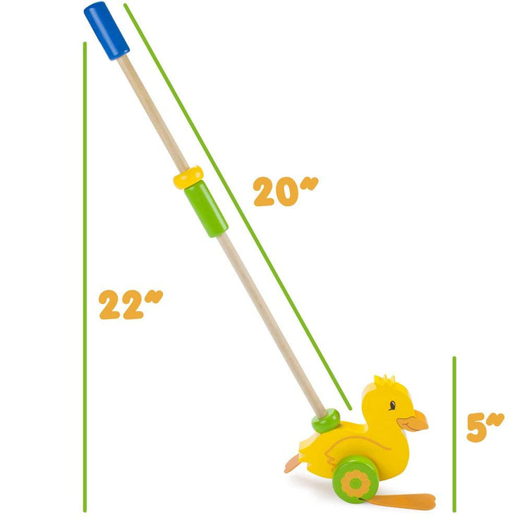 dimension view of Push-n-Pull Waddling Duckling