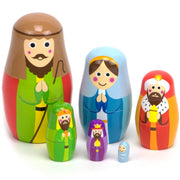 front view of the Nesting Nativity - Wooden Set