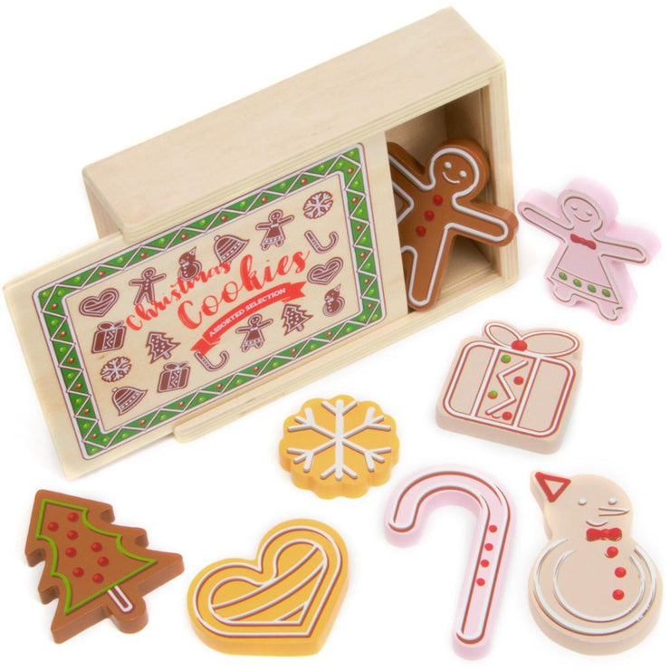 image of wood eats gingerbread christmas cookies box and biscuits