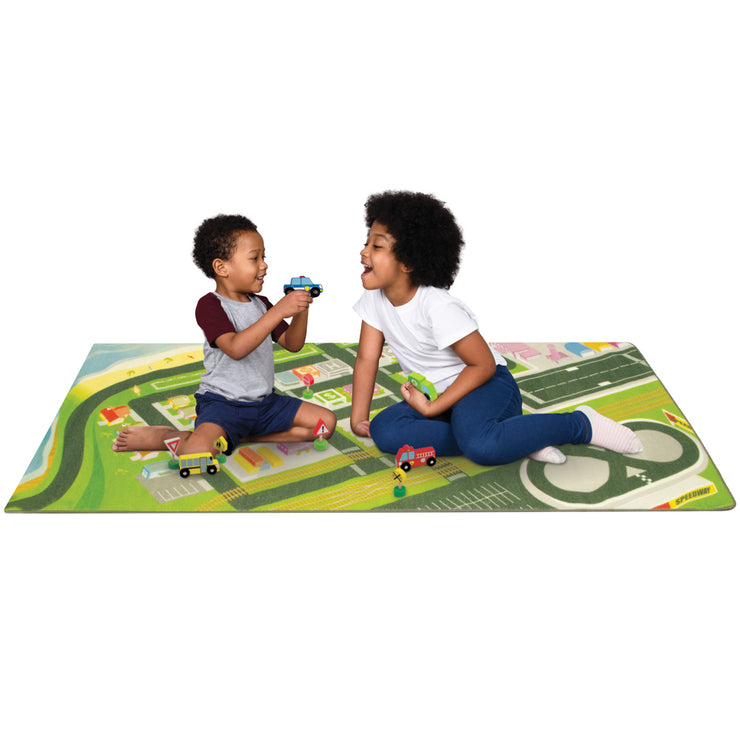 two boys playing on the Mini Metropolis City Play Rug