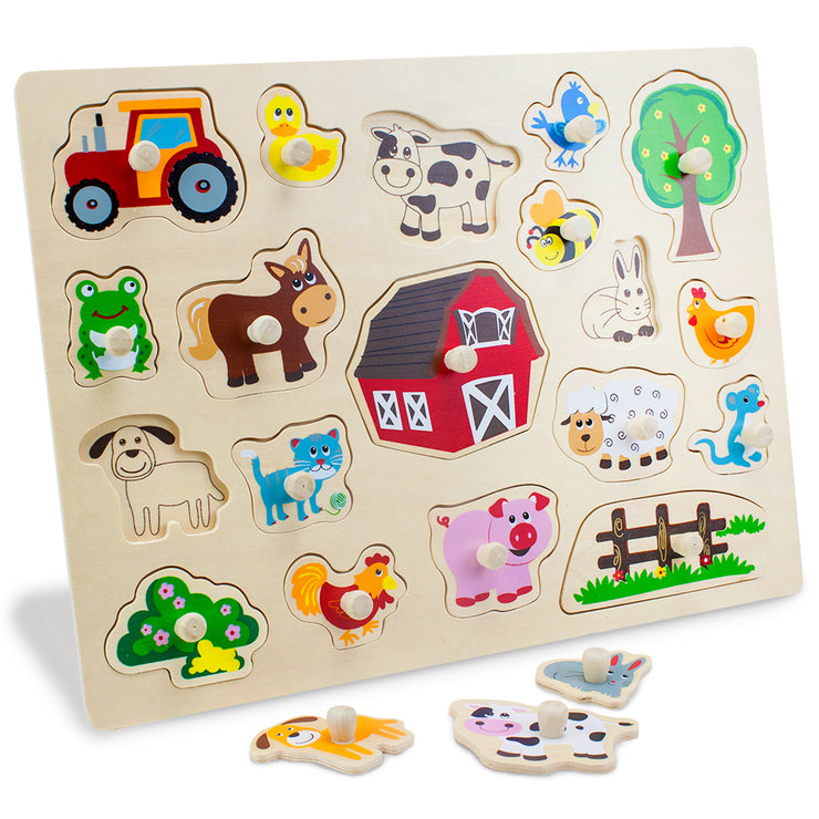 side view of the Jumbo Barnyard Helpers Peg Puzzle with a few puzzle pieces removed