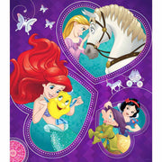 assembled Disney Princess 48-Piece Puzzle in Heart-Shaped Box puzzle viewed from above
