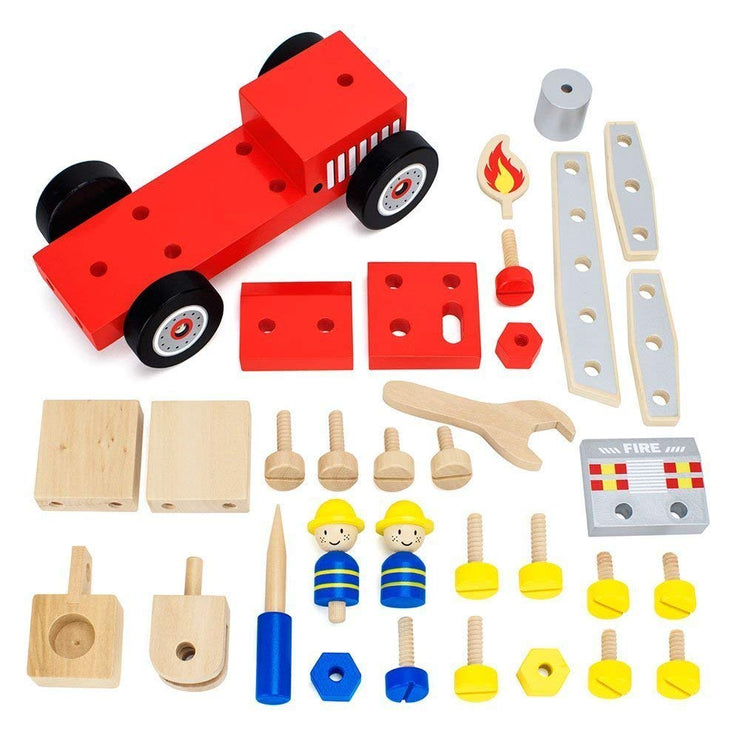 aerial view of all the components in the DIY Wooden Fire Engine