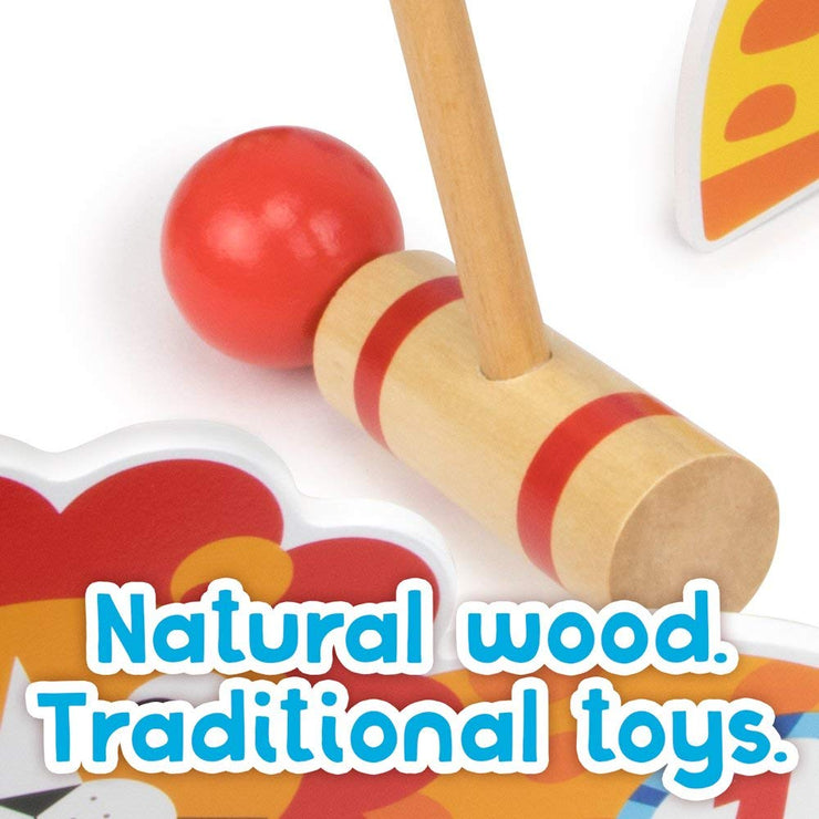 close up of mallet and ball text reads natural wood - traditional toys