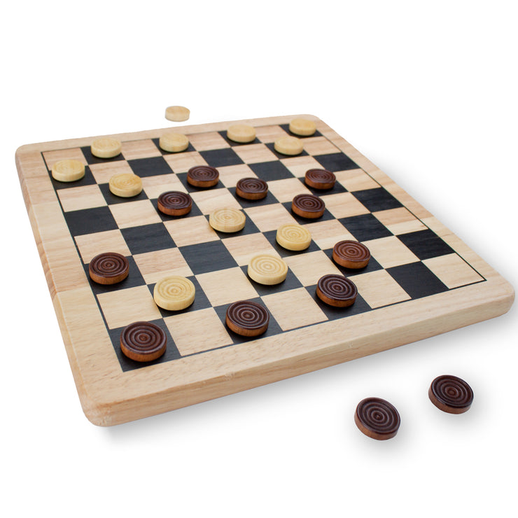 Second View of the All Natural Wood 2-in-1 Checkers and Tic-Tac-Toe Set