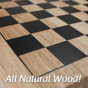 close up image of checkers board text reads all natural wood