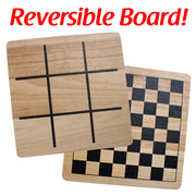 image of checkers and tic-tac-toe boards text reads reversible boards