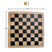 image of the checkers board and a checker piece displaying their dimensions