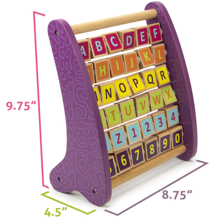 "image displaying actual size of alph abacus 9.75"" by 4.5"" by 8.75"""