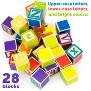twenty eight blocks of various colors tumbled down displaying lower case and upper case letters